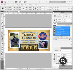 InDesign Workspace with linked Illustrator and Photoshop files