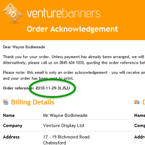 Venture Banners Order Acknowledgement