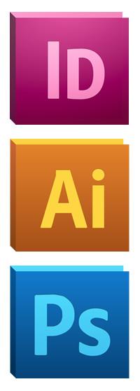 Adobe InDesign, Illustrator, and Photoshop